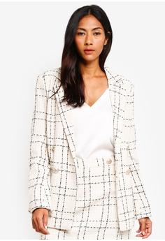 a35beea1834 Miss Selfridge white Ivory Boucle Checkered Blazer 5A8CBAA5BED465GS 1