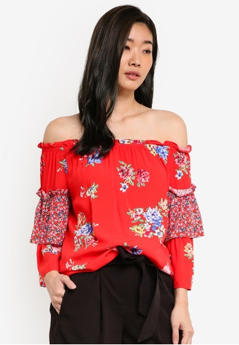 Dorothy Perkins red Red Bloom Bardot Top DO816AA54DBTMY_1
