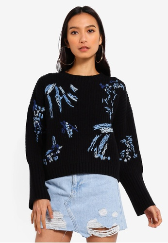 69bf60e9170 TOPSHOP black Scribble Embroidered Jumper 03CECAAA740BD7GS 1