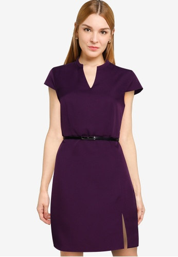 ZALORA WORK red Cap Sleeve Dress With Slit CF206AA40C1E0AGS_1