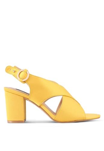 ZALORA yellow Cross Stap Chunky Heels 5C129SH07F7A39GS_1