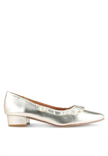 Velvet gold Block Heels with Frill Detail 2B73CSH3527278GS_1