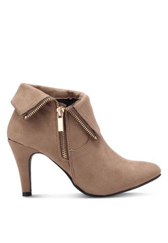 Something Borrowed brown Fold Over Bootie Heels 8512ESHCB471B2GS_1