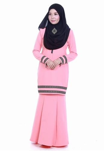 Farosa Kurung Cassandra Peach from Farosa in Pink and Orange