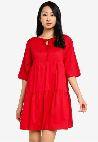 GLOBAL WORK red Tiered Dress 3B92DAA5FB3046GS_1