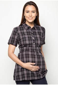 Plaid Maternity/ Nursing Top