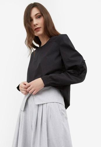 Berrybenka black Faye Bubble Sleeve Top F7200AA34E070FGS_1