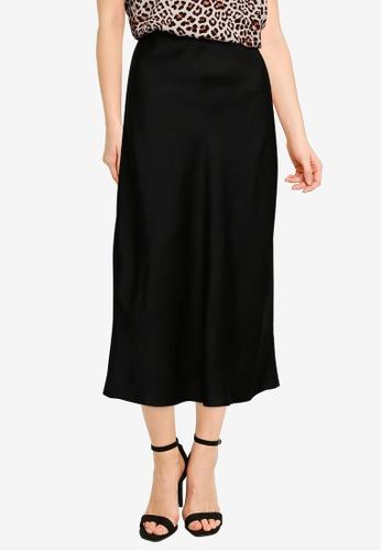 Forever New black Bianca Satin Slip Midi Skirt 13C3EAA8E585B0GS_1