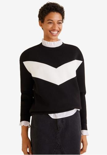 Mango black Contrast Panels Sweatshirt 01865AAF849D5EGS_1