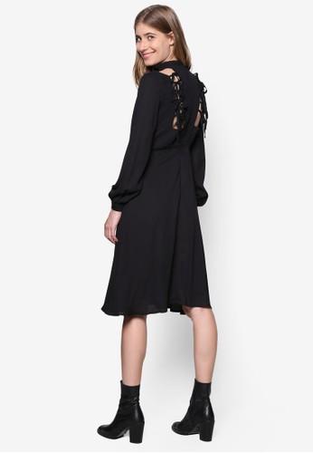 Anna 繫帶削背長袖連身裙,zalora 評價 服飾, 洋裝