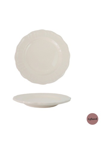 &glazed white &Glazed Vintage Solids 8-inch medium round plate Cream 2AD53HL27F0ED1GS_1