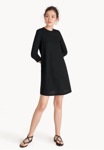 Pomelo black Ribbed Flare Dress - Black 57AABAA33E076EGS_1