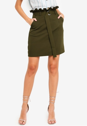 ZALORA green Paperbag Skirt 409CFAA0ACAB9CGS_1