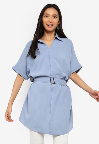 ZALORA 藍色 蝙蝠袖Tunic 腰帶襯衫 6CFEEAAA415B52GS_1