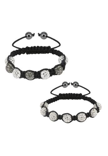 Her Jewellery multi Shamballa Bracelet Bundle (White and Grey) HE581AC0RVFGMY_1