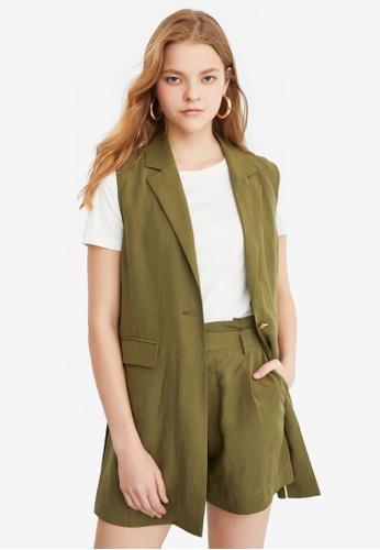 Hopeshow green Single Button Vest E0771AA2893BDBGS_1