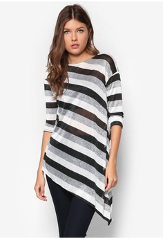 Striped Asymmetric Knitted Top