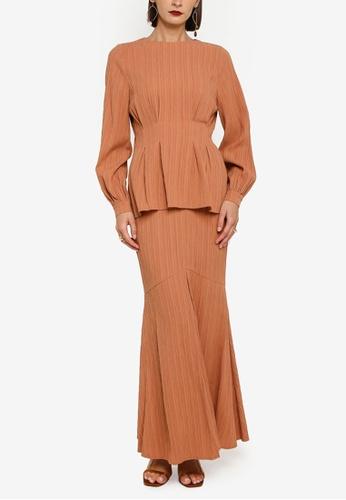 Zalia brown Box Pleat Top With Flounce Skirt Set A7D54AA0CFD18EGS_1