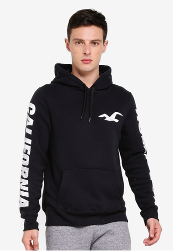 Hollister 黑色 品牌滾邊印花帽T BD1EAAAF15489AGS_1