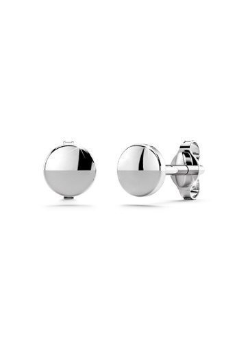 925 Signature 銀色 925 SIGNATURE Solid 925 Sterling Silver Circle Stud Earrings C64D1AC642F37CGS_1