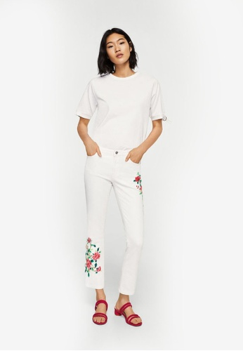 Mango white Embroidered Straight Cropped Jeans F6065AA0CFEEA0GS_1