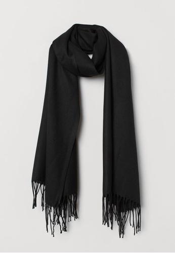 H&M black Woven Scarf D1FF0AC13487FCGS_1