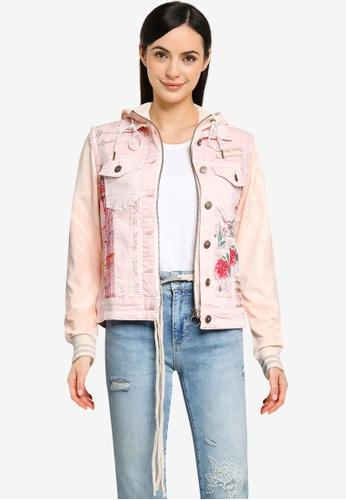 Desigual pink Slim Bimaterial Jeans Jacket A6F52AAF096B33GS_1