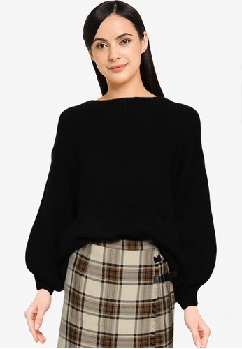 LOWRYS FARM black Back Tie Knit Pullover Sweater B4CA4AABE7F82DGS_1