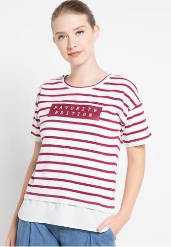 Bossini red S/S R/Nk Stripe Graphic Tee W/Woven Lawn Layer(F:23 1/2;B:25) BO894AA82SJPID_1