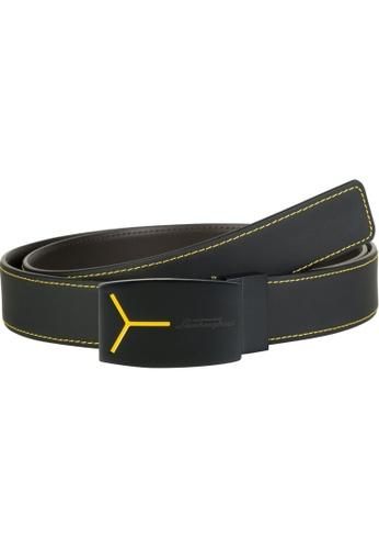 LAMBORGHINI black Automobili Lamborghini® Unisex Black Calf Leather Belt 46C70AC9A309B7GS_1