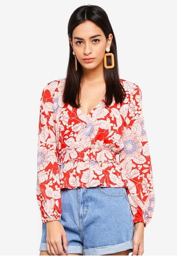 TOPSHOP red Floral Shirred Waist Blouson B4C1AAA5ABE68EGS_1