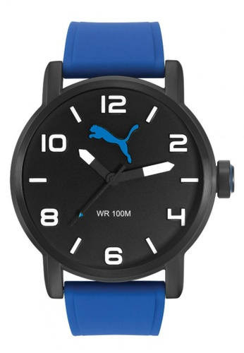 Puma Watches blue PU104141003 Alternative Round Black Blue Silicone Strap Men Watch PU549AC0RKKQMY_1