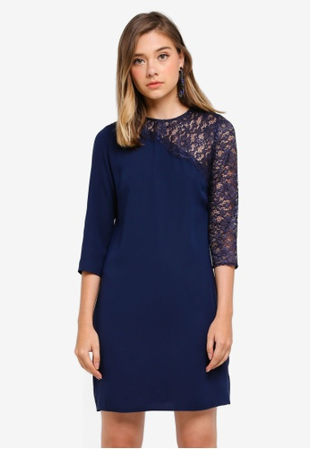 Dorothy Perkins navy Asymmetric Lace Sleeve Shift D6A1FAAC541279GS_1