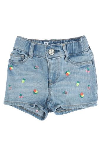 GAP blue Fruits Embroidery Shorts 8440BKA1704F90GS_1