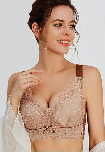 LYCKA brown LWJ4029-Lady Sexy One Piece Nightwear Bra Top-Brown 1739AUS85EF07FGS_1