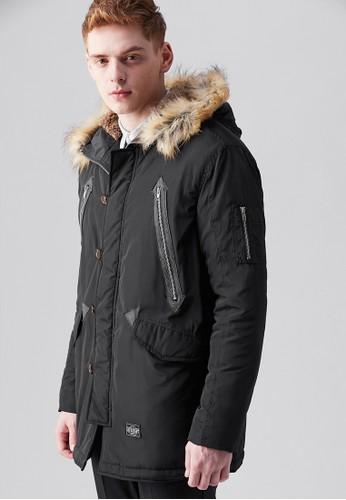 美式休閒。異材質。連帽舖棉外套esprit hk outlet-07380-黑色, 服飾, 外套