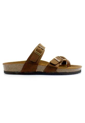 SoleSimple brown Dublin - Camel Leather Sandals & Flip Flops 34FE6SHBF6E244GS_1