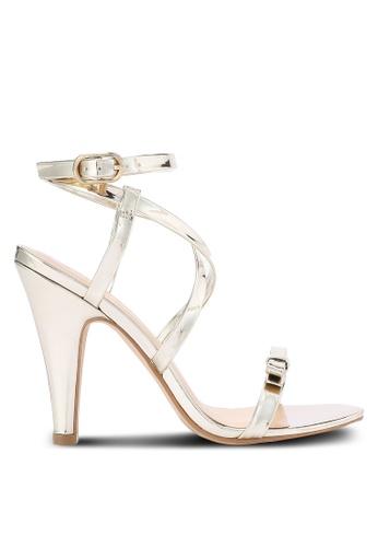 ZALORA gold Metallic PU Heeled Sandals C90BASH8DD238CGS_1