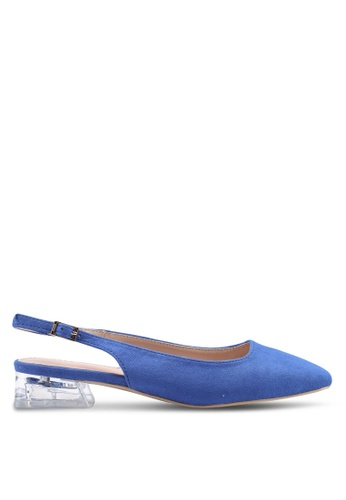 nose blue Lucite Low Heel Square Toe Slingbacks D0530SH354B673GS_1
