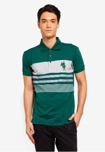 Fidelio green Printed Stripes Cut and Sew Polo Shirt 21A0BAA9A64B33GS_1