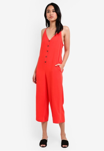 TOPSHOP red Petite Button Strappy Romper BCBC8AAE112F06GS_1