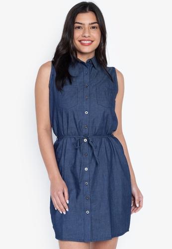 b096d418fe5 Shop Crissa Sleeveless Denim Shirt Dress Online on ZALORA Philippines