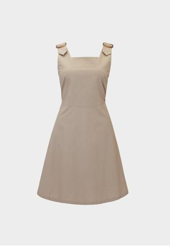 Pomelo beige Mini Buckle Straps Dress - Beige 8328AAA1AA57ABGS_1