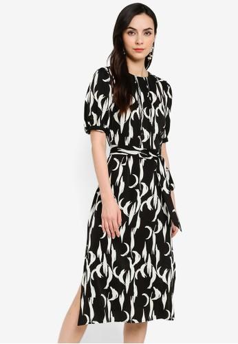 ZALORA WORK black Pintucks Puff Sleeves Dress E22D6AA70F20FAGS_1