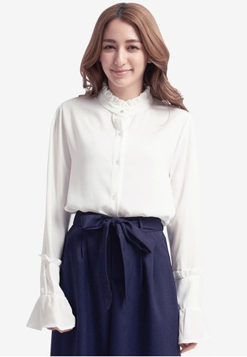 Yoco white Ruffle Bell Sleeve Shirt D9B86AA0EE1FCDGS_1