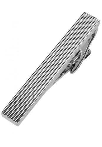 CUFF IT silver 47mm Etched Line Tie Clips CU047AC72CRVHK_1