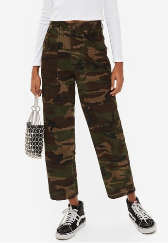 TOPSHOP multi and brown Corduroy Camouflage Trousers 712FEAA9743D62GS_1