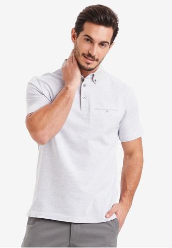 LC Waikiki grey Short Sleeve Jacquard Polo Shirt B49D9AAEEDDAFCGS_1