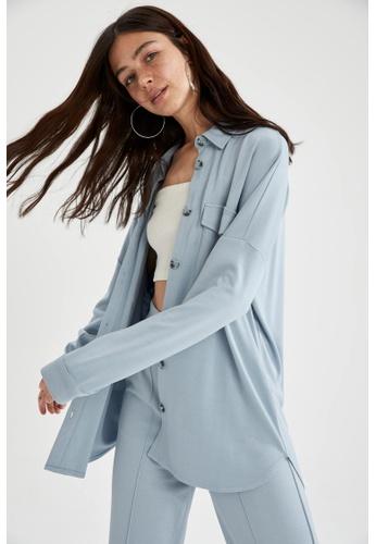 DeFacto blue Long Sleeve Shirt Tunic 84090AA1F7DB78GS_1