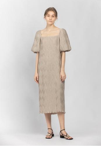 TAV beige [Korean Designer Brand] Volume Pleats Dress - Beige 7FA73AAFBFF985GS_1